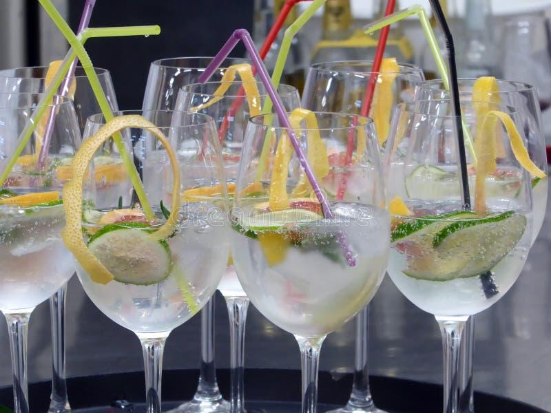 Vidrio de cóctel con la cal del limón y agua tónica fotografía de archivo libre de regalías