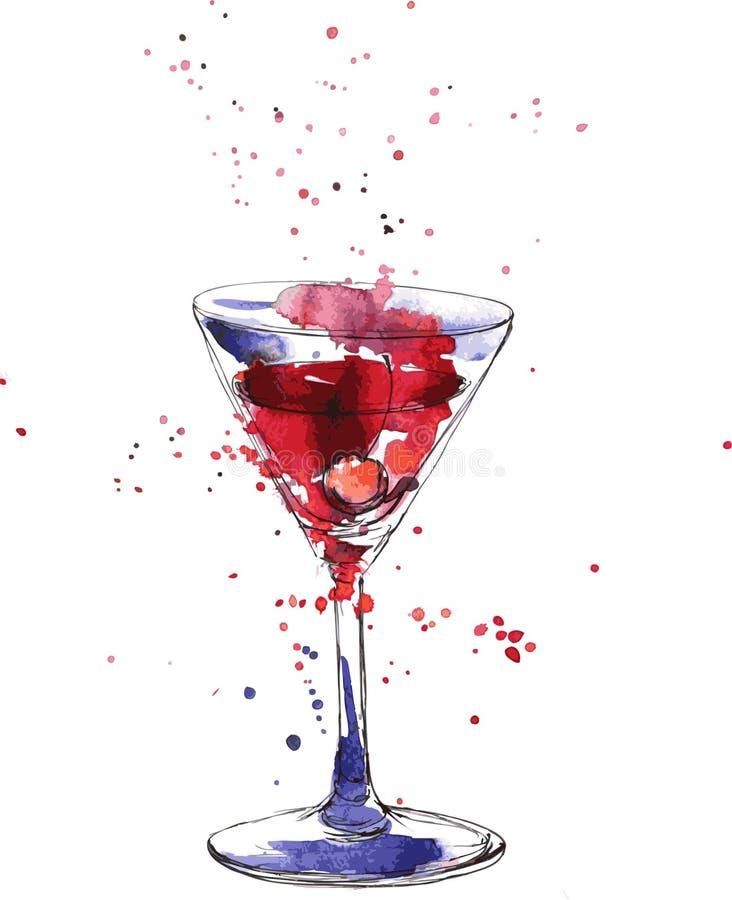 Vidrio de cóctel con la cereza ilustración del vector