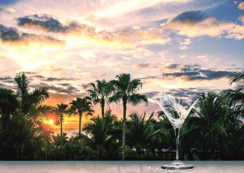 Vidrio de cóctel con un chapoteo de martini en una puesta del sol tropical fotografía de archivo