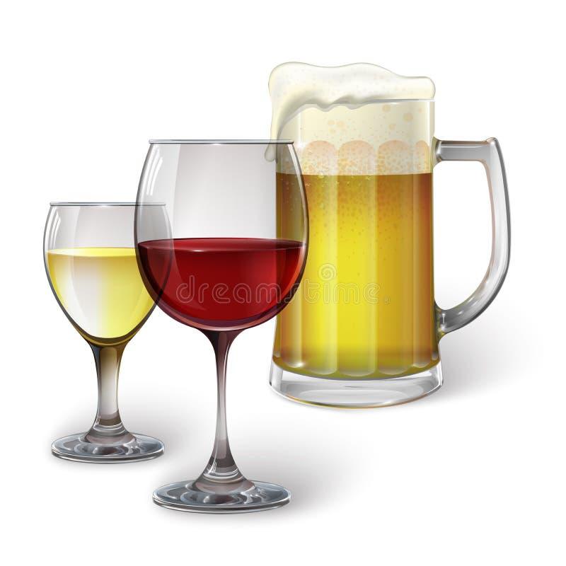 Vidrio de cóctel, copa de vino, taza con la cerveza fotos de archivo libres de regalías