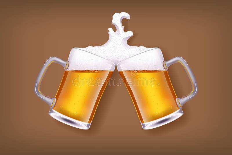 Vidrio de cerveza stock de ilustración