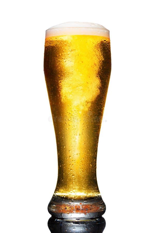 Vidrio de cerveza aislado sobre fondo blanco imágenes de archivo libres de regalías