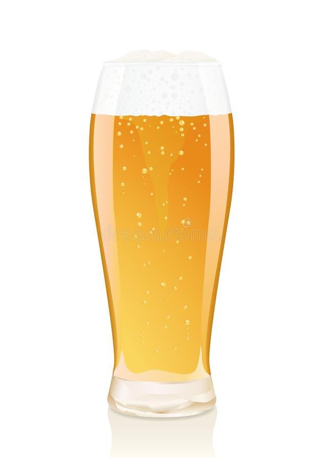 Vidrio de cerveza con espuma y frascos libre illustration