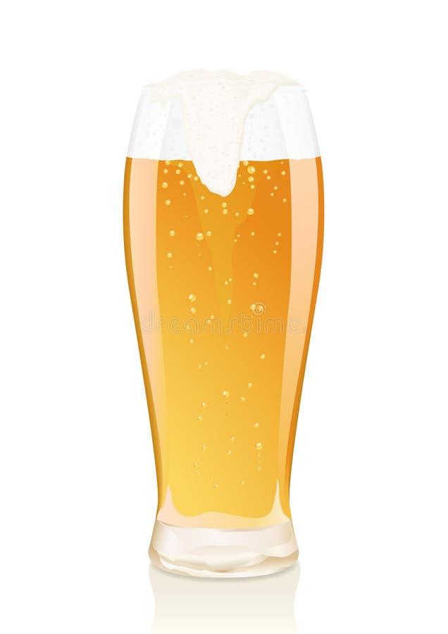 Vidrio de cerveza con espuma y frascos ilustración del vector