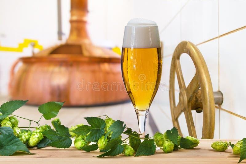Vidrio de cerveza con los saltos imagen de archivo libre de regalías