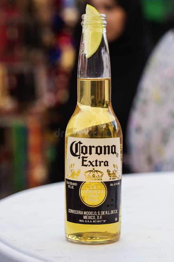 Vidrio de cerveza de Corona Express con el pedazo de limón, editorial ilustrativo fotografía de archivo libre de regalías