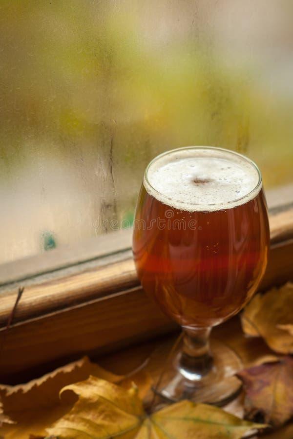 Vidrio de cerveza del otoño imagen de archivo libre de regalías