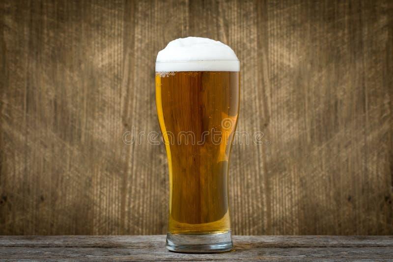 Vidrio de cerveza de cerveza dorada ligera imagenes de archivo
