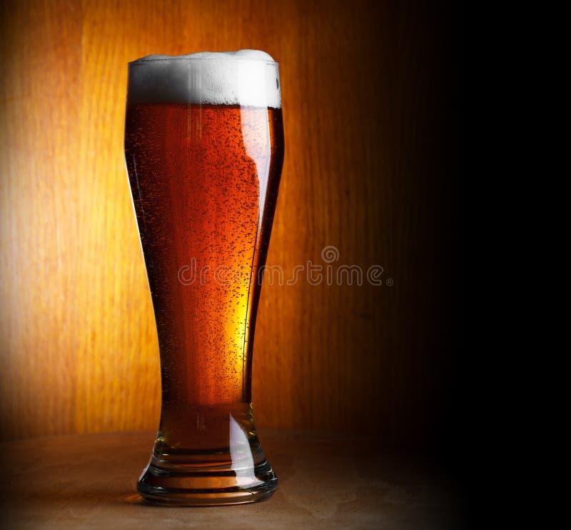Vidrio de cerveza en fondo oscuro imagenes de archivo