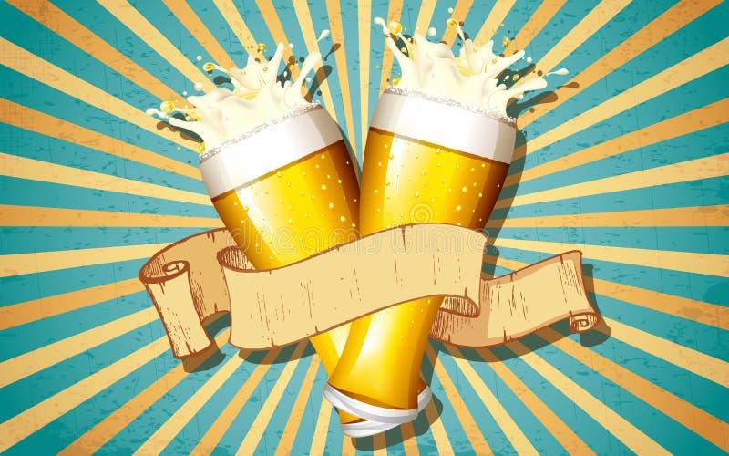 Vidrio de cerveza en fondo retro ilustración del vector
