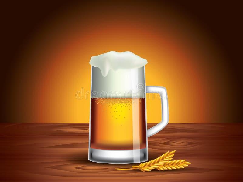 Vidrio de cerveza en la tabla de madera, fondo oscuro ilustración del vector