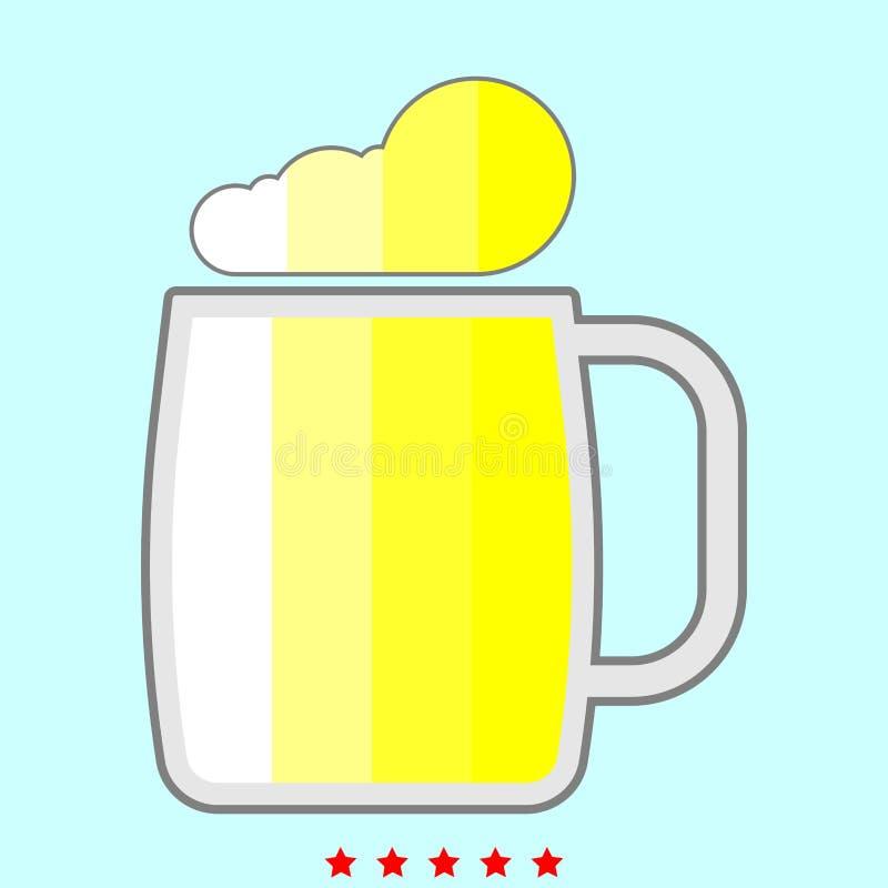 Vidrio de cerveza es icono del color stock de ilustración