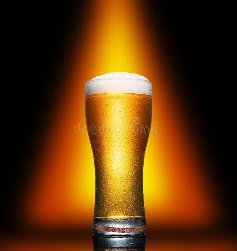 Vidrio de cerveza ligera de artesanía fría sobre fondo oscuro fotos de archivo libres de regalías