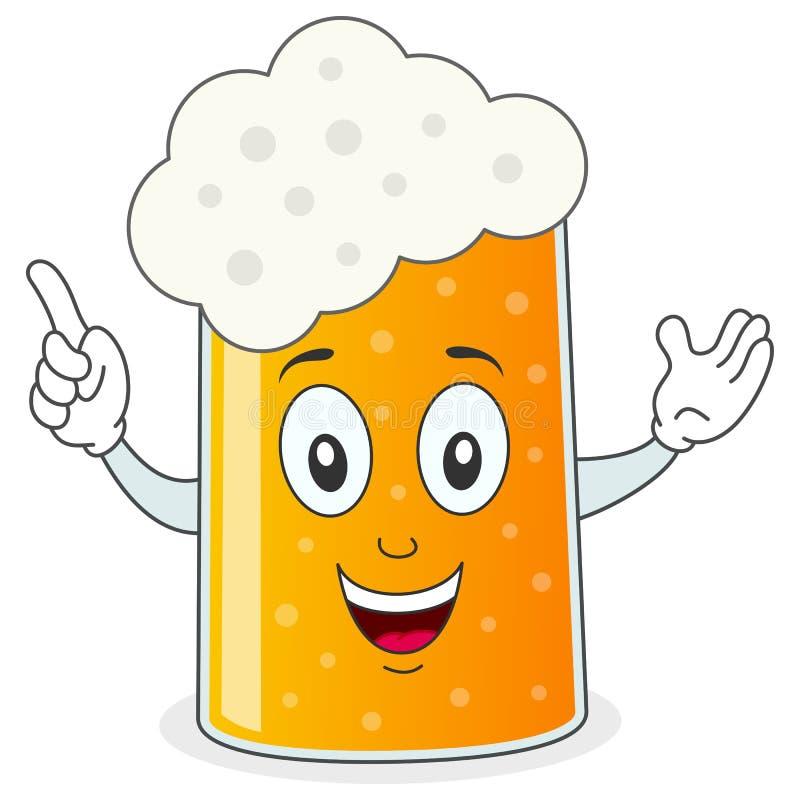 Vidrio de cerveza o personaje de dibujos animados de la taza ilustración del vector