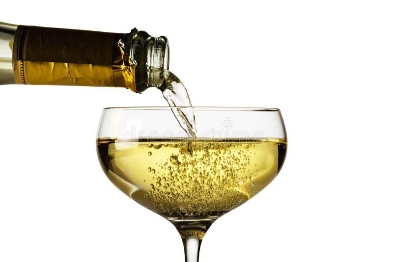 Vidrio de Champán con la botella del champán imagen de archivo libre de regalías