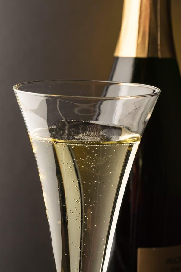 Vidrio de Champán con la botella del champán fotografía de archivo libre de regalías