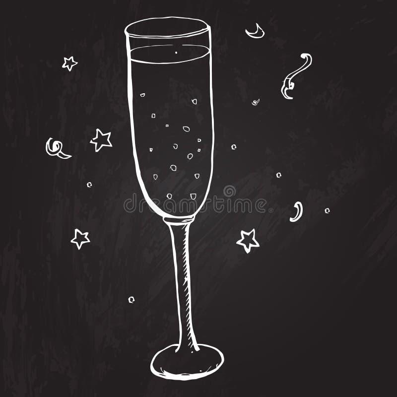 Vidrio de champán con las burbujas y las estrellas Vector ilustración del vector