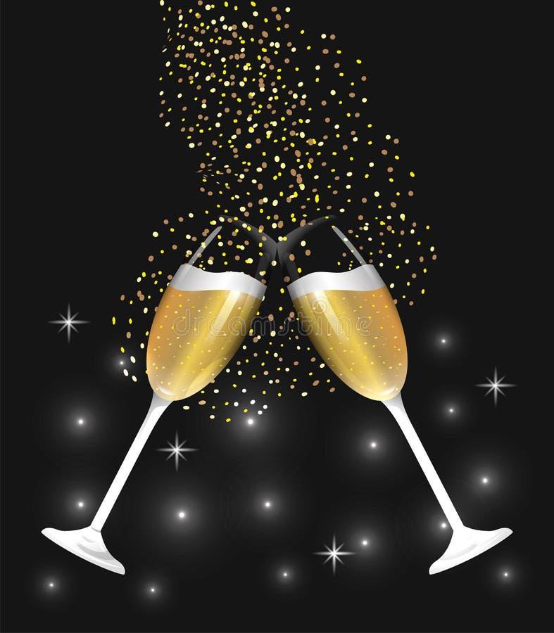 Vidrio de Champán que salpica para celebrar Año Nuevo ilustración del vector