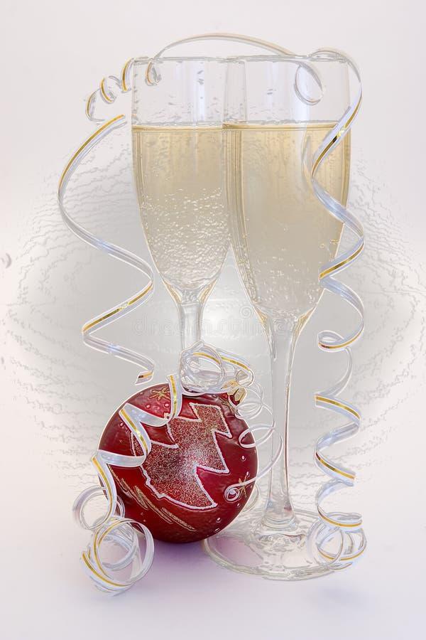 Vidrio de champán y de Años Nuevos de bola imagen de archivo libre de regalías
