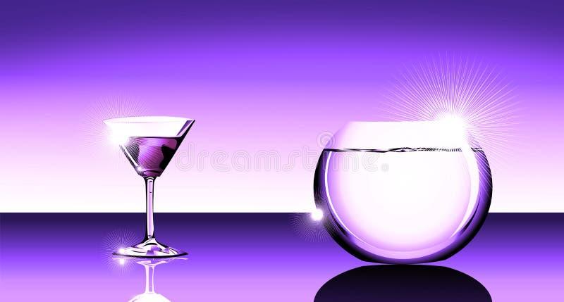 Vidrio de coctel y fishbowl stock de ilustración