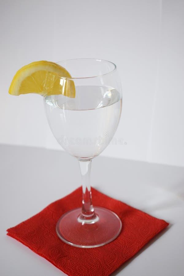 Vidrio de cristal con el limón fotografía de archivo libre de regalías