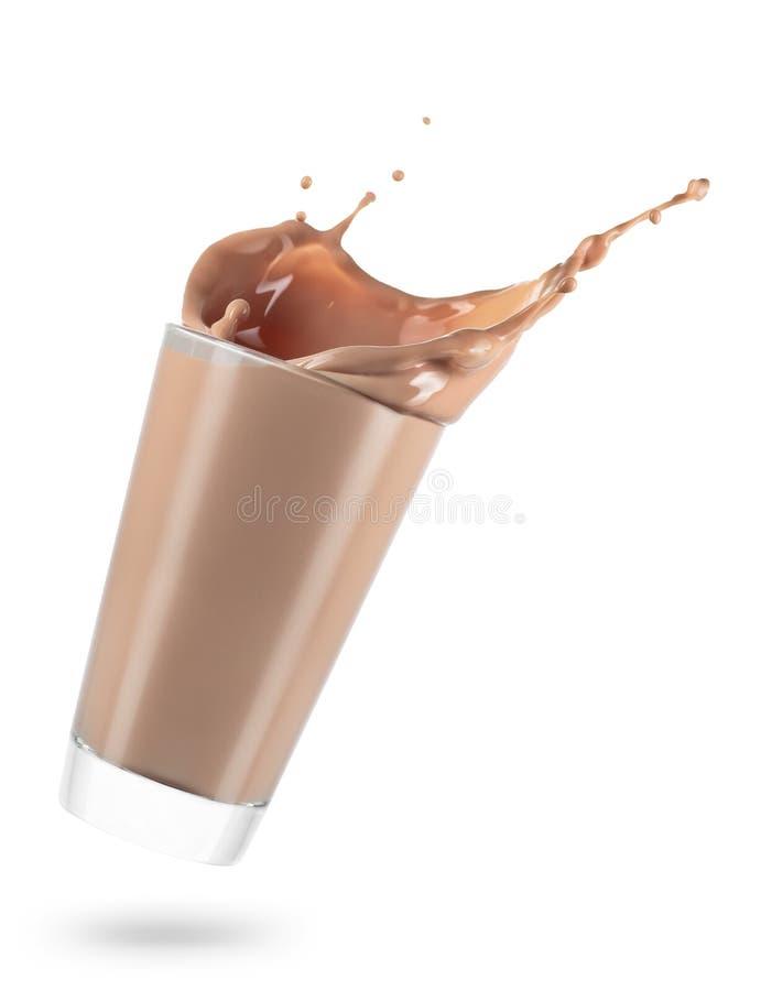 Vidrio de derramar el chocolate caliente imagenes de archivo