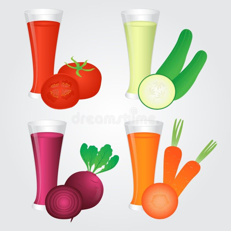 Vidrio de jugo de los Veggies en fondo stock de ilustración