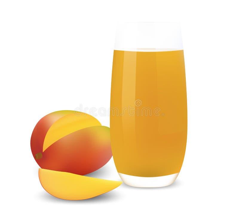 Vidrio de jugo del mango. stock de ilustración