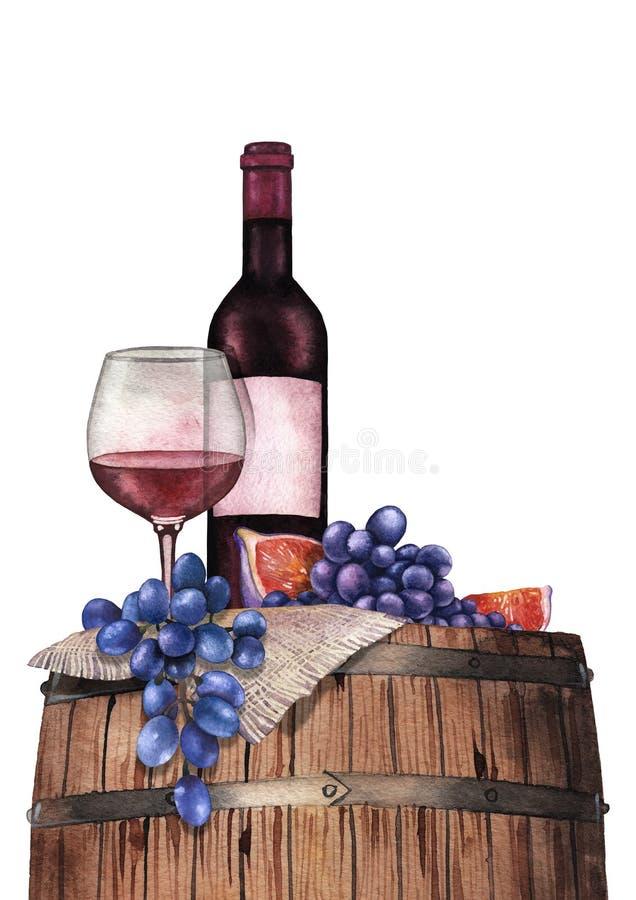 Vidrio de la acuarela de vino rojo, de botella, de uvas y de higos en el barril de madera ilustración del vector