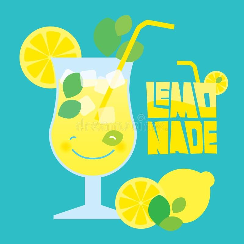 Vidrio de la bebida de la limonada del verano en fondo azul libre illustration