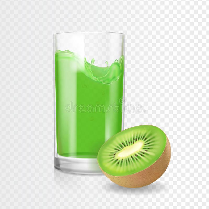 Vidrio de la bebida del jugo del kiwi Smoothies del kiwi de Refreshig Vector tropical verde del coctail libre illustration