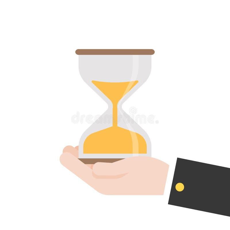 Vidrio de la hora del control de la mano, diseño plano del vector ilustración del vector