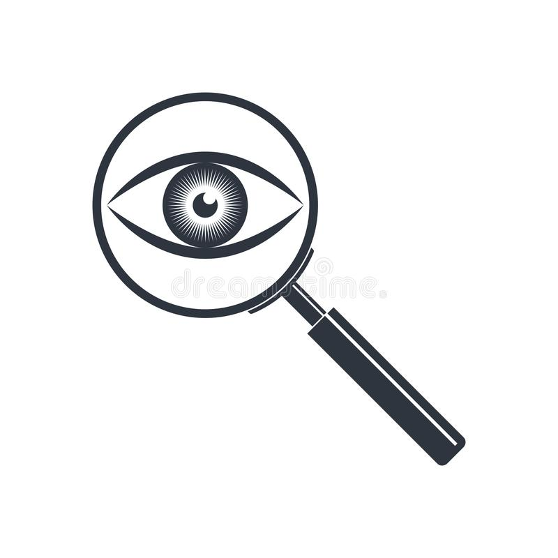 Vidrio de la lupa e icono gráfico del ojo libre illustration