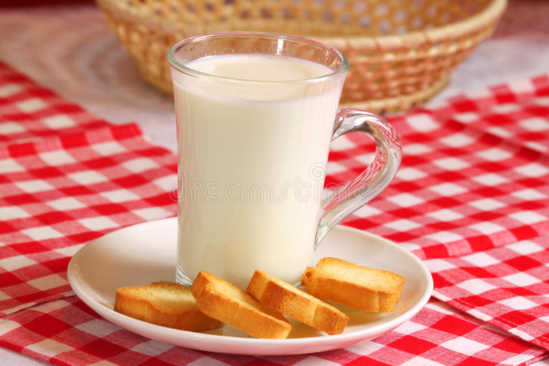 Vidrio de leche con los bizcochos tostados imagen de archivo libre de regalías
