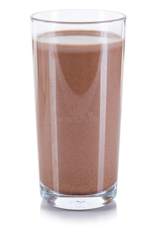 Vidrio de leche fresco de la bebida del chocolate aislado en blanco imagen de archivo