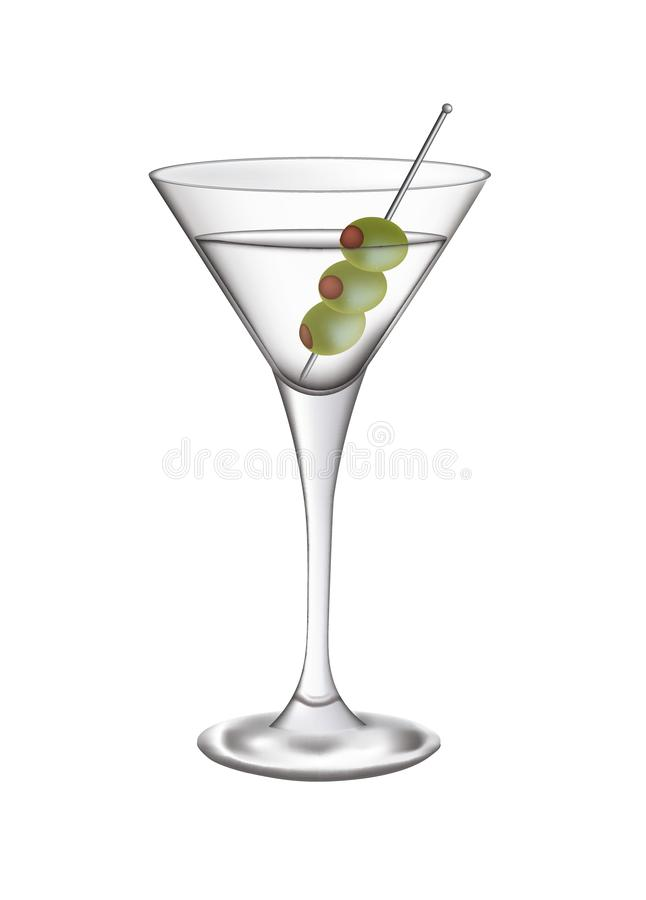 Vidrio de Martini con las aceitunas ilustración del vector