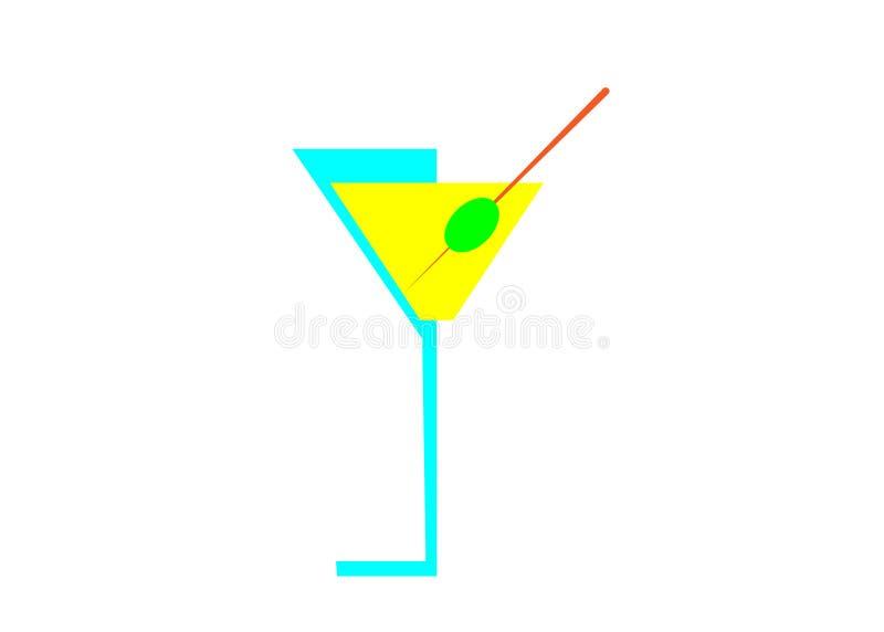 Vidrio de martini del cóctel con la aceituna para la cubierta del menú, vector aislada libre illustration