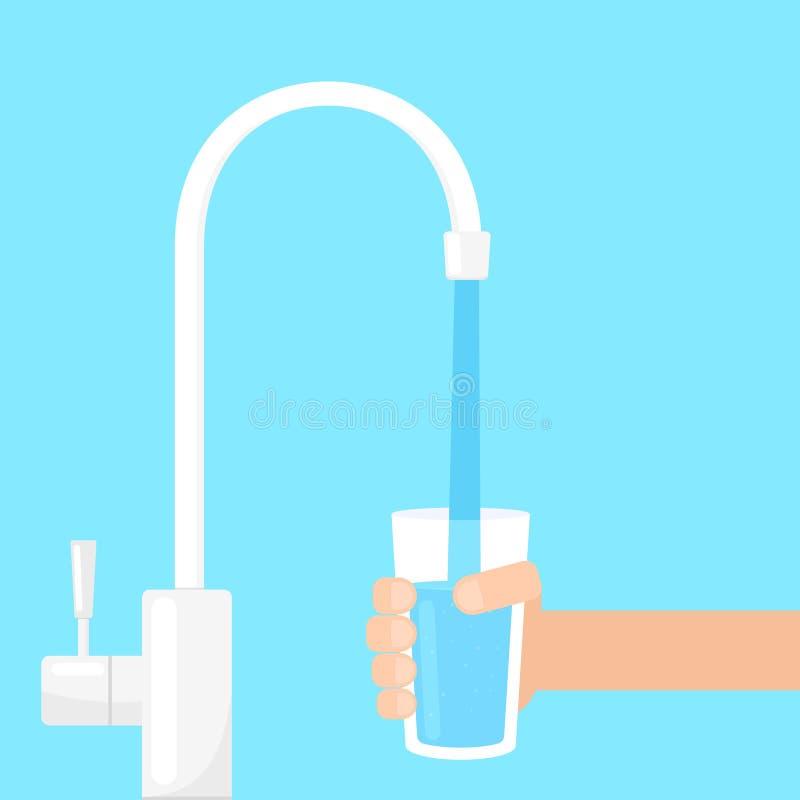 Vidrio de relleno con agua del golpecito de filtro stock de ilustración