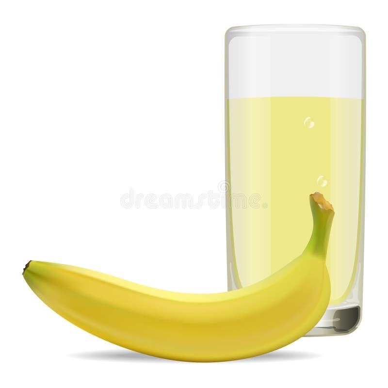 Vidrio de restaurar el jugo delicioso de plátanos maduros ilustración del vector