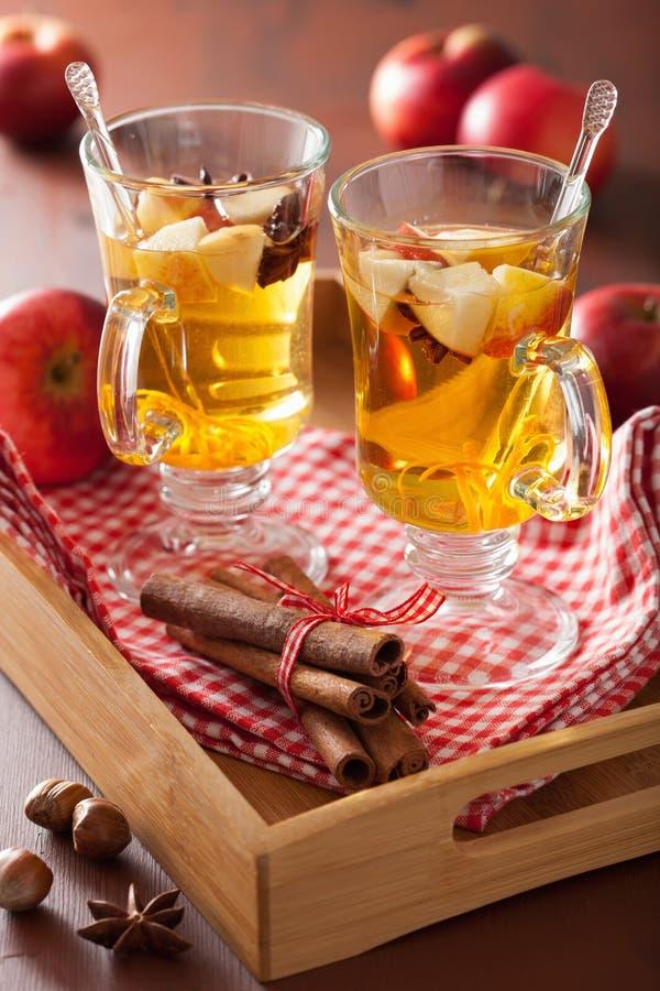 Vidrio de sidra reflexionada sobre con la naranja y las especias, bebida caliente del invierno foto de archivo