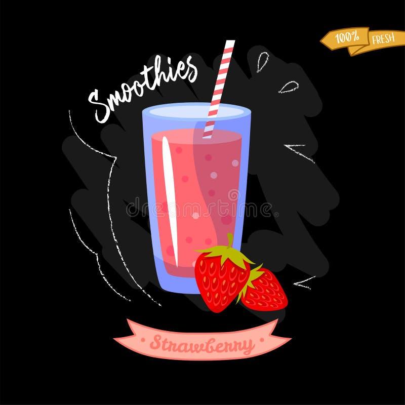 Vidrio de smoothies en fondo negro Fresa Diseño del verano - bueno para el diseño del menú stock de ilustración
