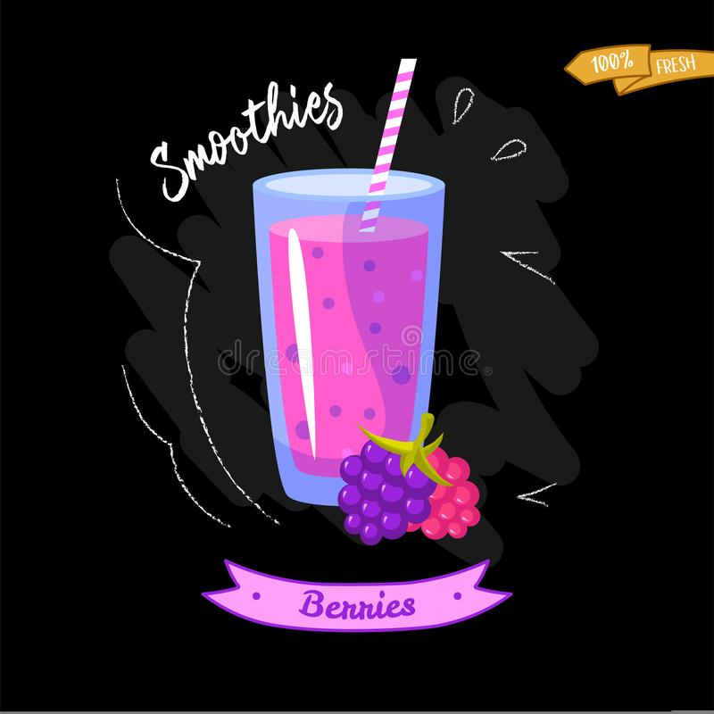 Vidrio de smoothies en fondo negro zarzamora Diseño del verano - bueno para el diseño del menú libre illustration