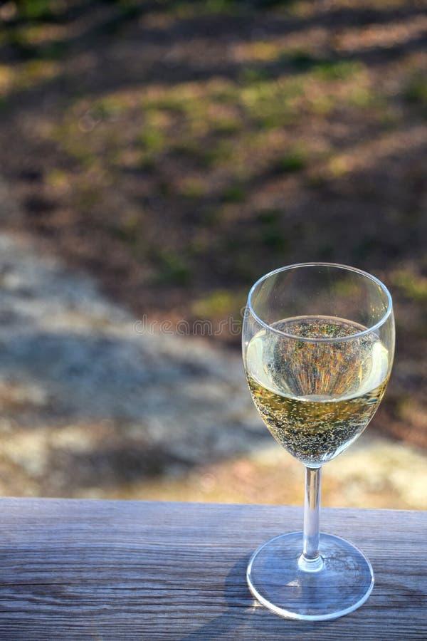 Vidrio de vino blanco en la tabla de madera en la puesta del sol con el jardín en el fondo fotografía de archivo