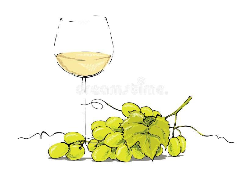 Vino blanco con las uvas ilustración del vector