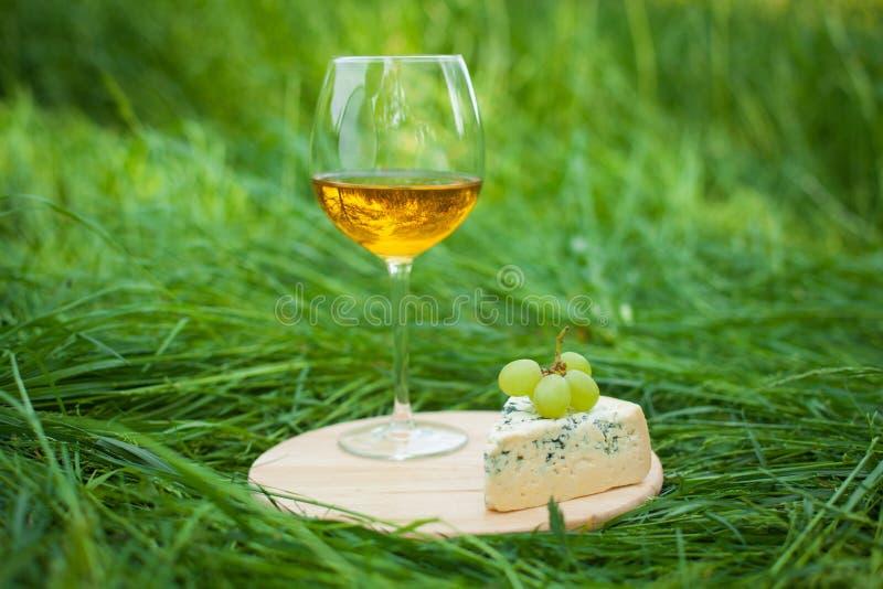 Vidrio de vino con queso verde y uvas al aire libre imagen de archivo