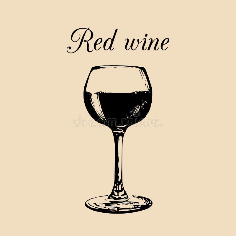 Vidrio de vino rojo aislado Dé el bosquejo exhausto del clarete para el restaurante, barra, diseño del menú del café ilustración del vector