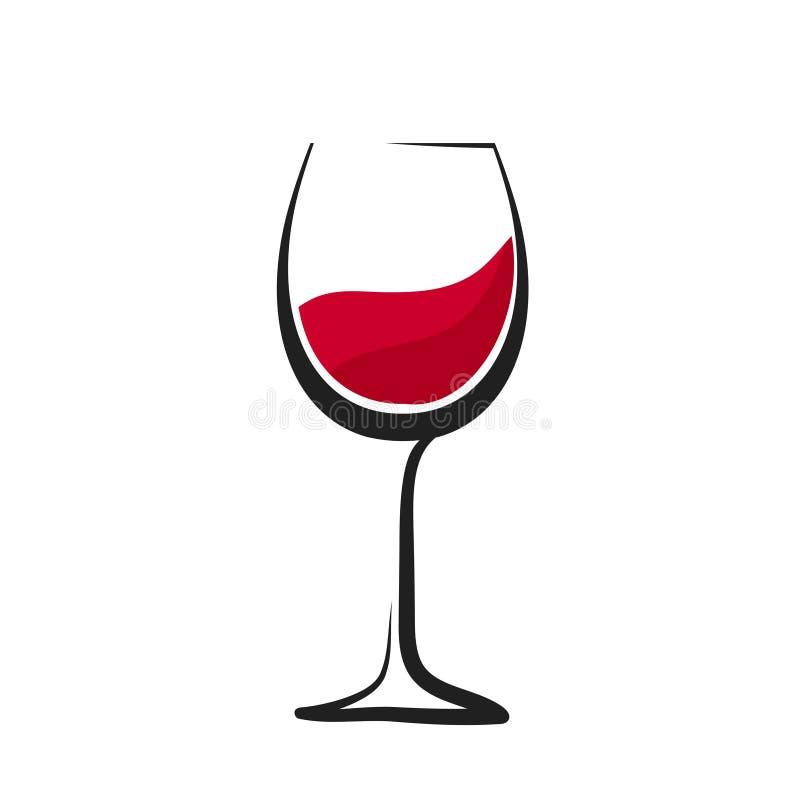 Vidrio de vino rojo con el chapoteo, dibujo de la mano, icono del logotipo de la copa stock de ilustración