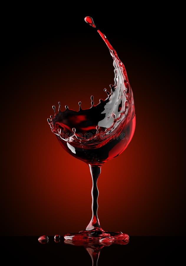 Vidrio de vino rojo en fondo negro stock de ilustración