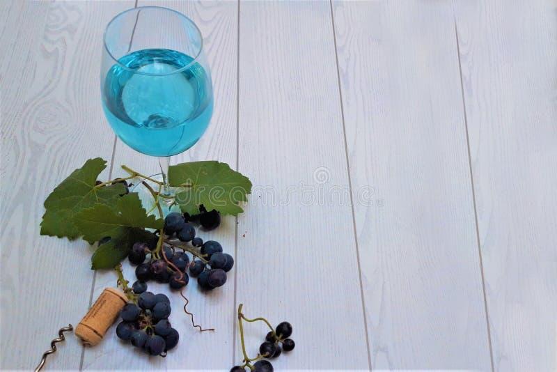 Vidrio de vino trandy azul con las uvas fotos de archivo libres de regalías