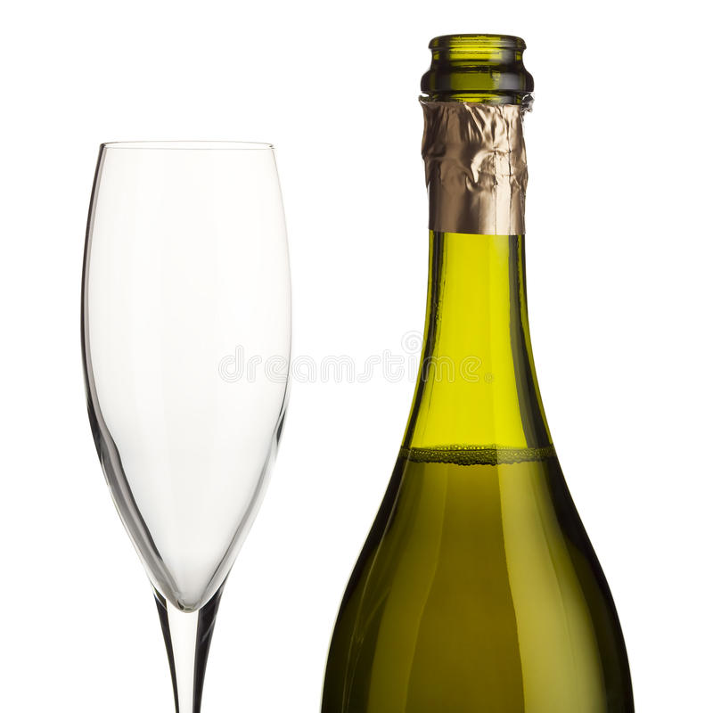 Vidrio de vino vacío y vino espumoso imágenes de archivo libres de regalías